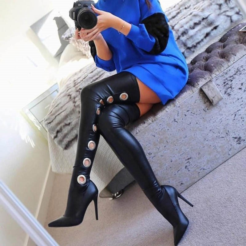 Ericdress Pointed Toe Slip-On Stiletto Heel Over-the-Knee Boots
