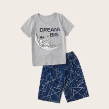 Boys Slogan & Astronaut Print PJ Set