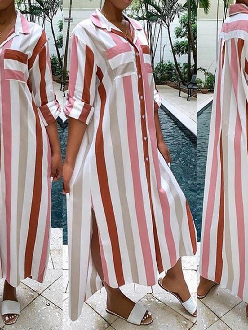 Ericdress Lapel Mid-Calf Long Sleeve Single-Breasted Regular Dress
