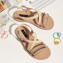 Toddler Girls Rhinestone Detail Cross Strap Sandals