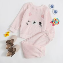 Toddler Girls Flannel Cartoon Embroidered Sweatshirt & Pants