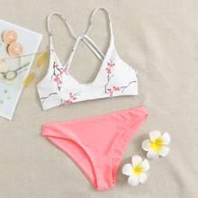 Cross Strap Floral Bikini Swimsuit