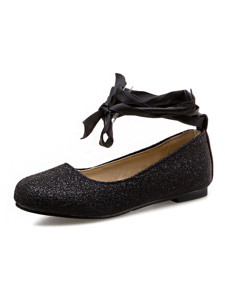 Milanoo Women Ballet Flats Glitter Round Toe Lace Up Flat Shoes Casual Shoes