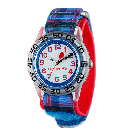Red Balloon Boys Blue Plaid Strap Watch, One Size , No Color Family