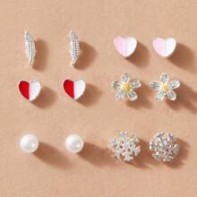 Pendientes de niñas de tachuela en forma de copo de nieve con corazon 6 pares