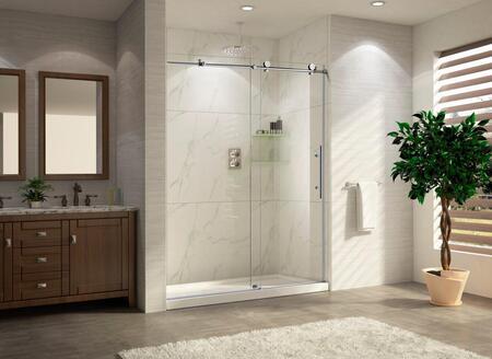 PART-CRSBS0348-CHR TRIDENT LUX 48 - Premium 3/8 10mm Thick Clear Tempered Glass Frameless Sliding Shower Door in