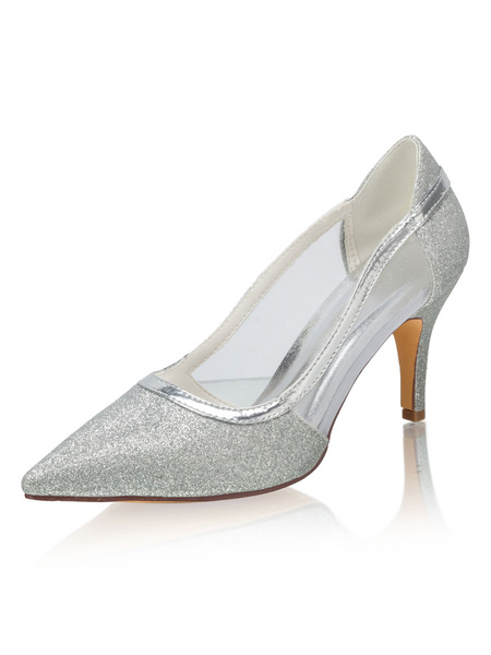 Milanoo Silver Glitter Party Shoes Wedding Pumps Pointed Toe Stiletto Heel Bridal Shoes