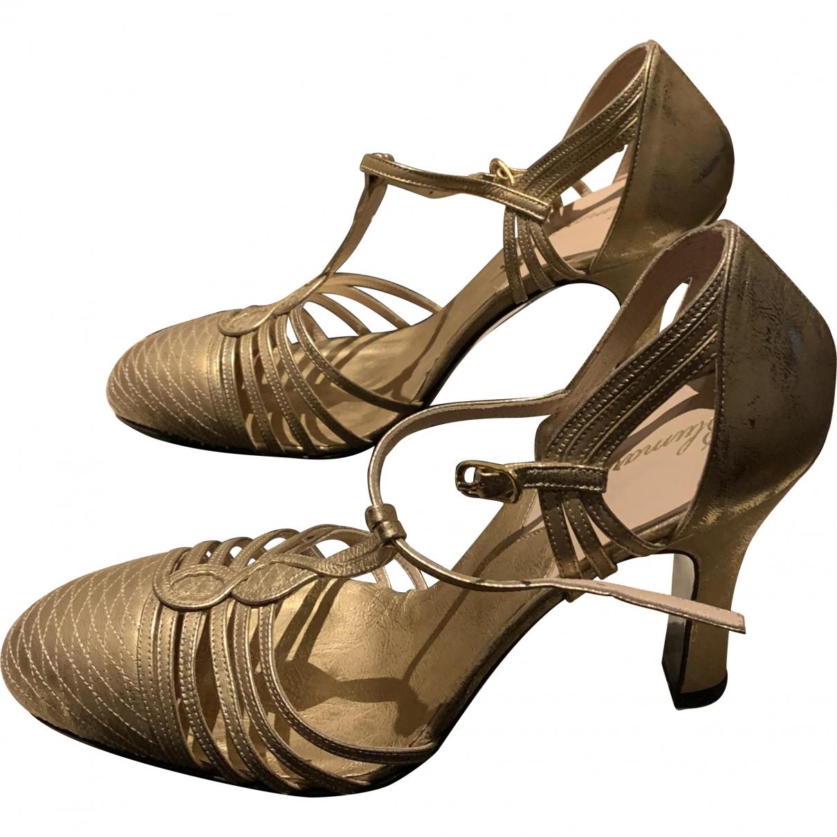 Blumarine \N Gold Leather Sandals for Women 39 EU