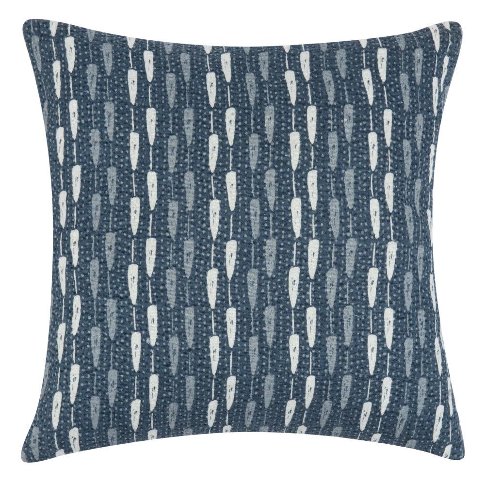 Kissenbezug aus Baumwolle, blau und ecru mit Motiven 40x40