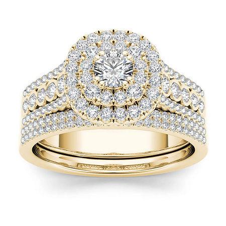 1 CT. T.W. Diamond 10K Yellow Gold Bridal Ring Set, 9 , No Color Family