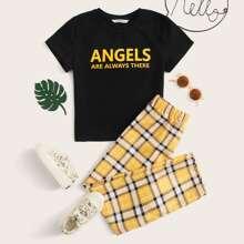 Girls Slogan Graphic Top and Tartan Print Pants Set