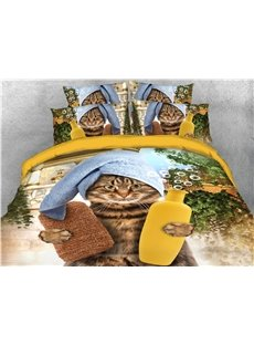 Cat Wearing a Headscarf and Holding Bottles Printed 4-Piece 3D Bedding Sets/Duvet Covers