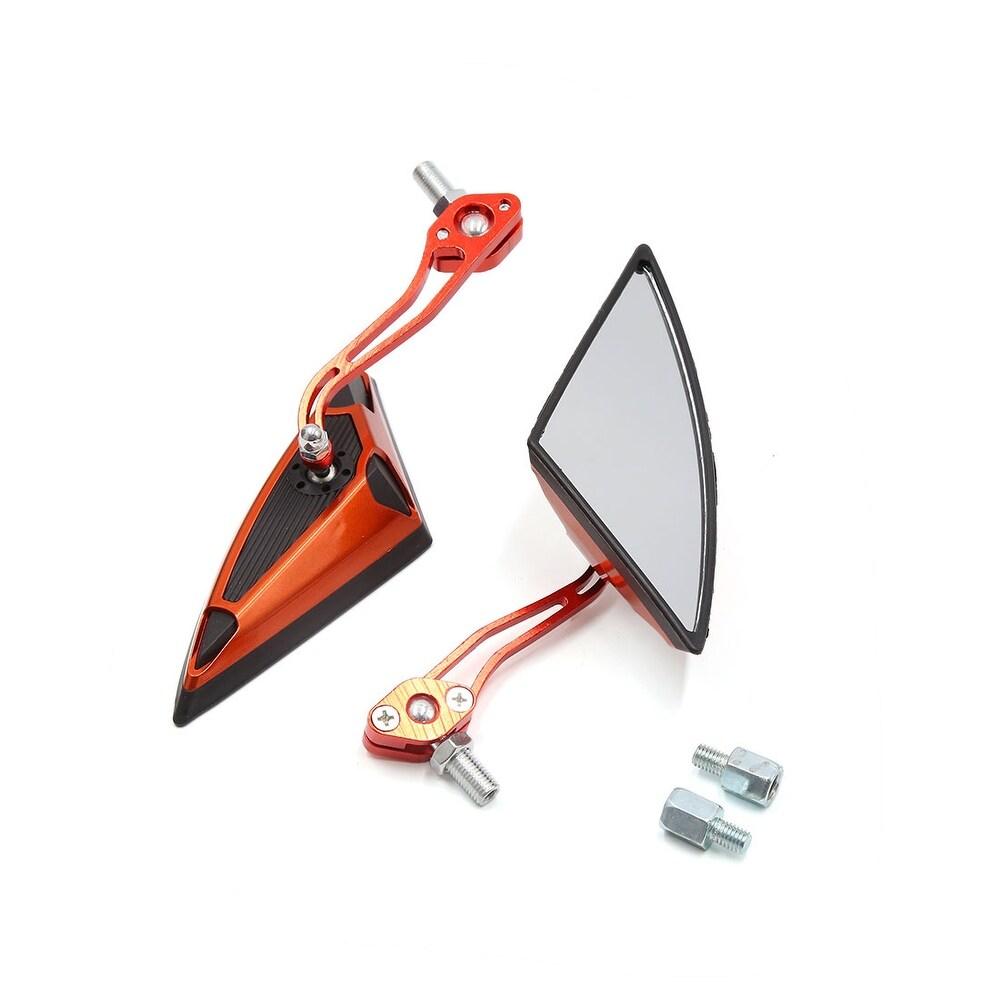 2Pcs Black Orange Triangle Adjustable Rearview Mirror for Motorcycle Motorbike - Black, Orange (Black, Orange)