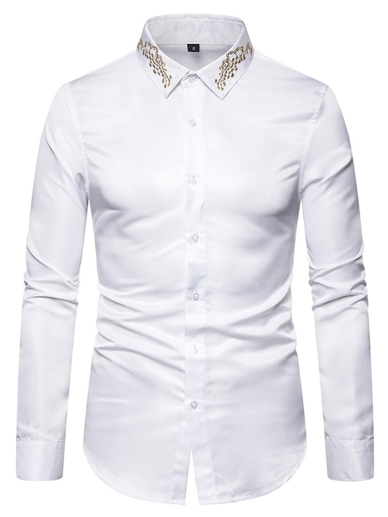 Ericdress Casual Lapel Button Mens Single-Breasted Shirt