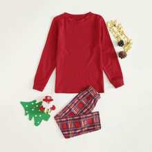 Toddler Boys Tee With Tartan Plaid Pants