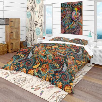 BED18662-Q Designart 'Paisley Floral Pattern' Bohemian & Eclectic Duvet Cover