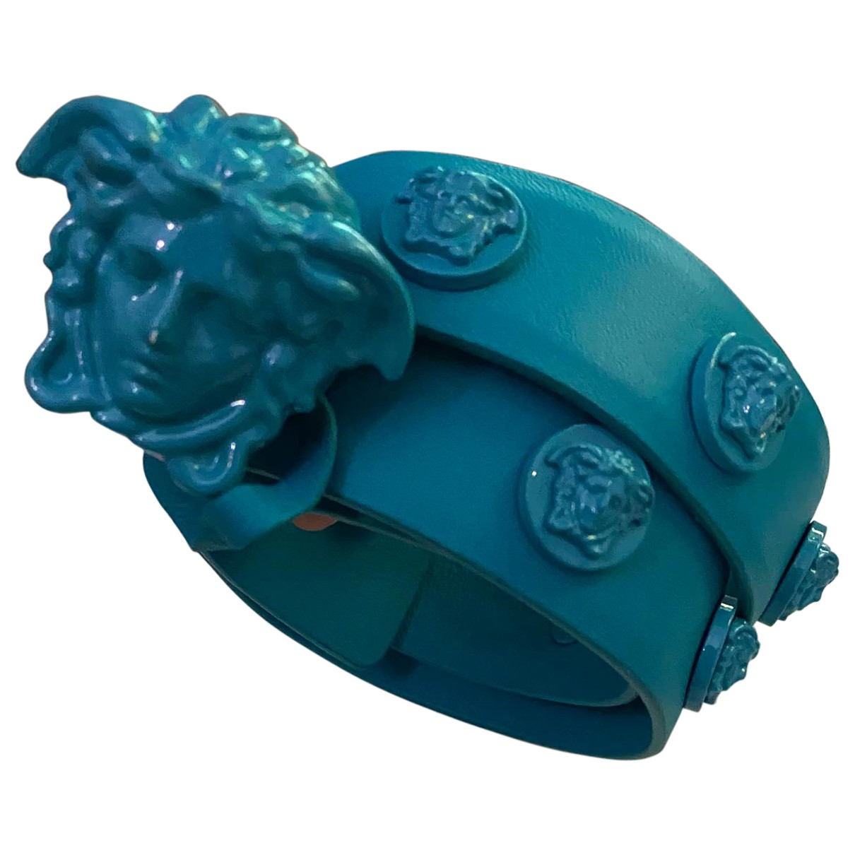 Versace N Turquoise Leather belt for Women 90 cm