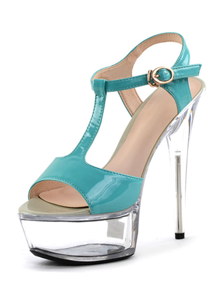 Milanoo Women Sexy Sandals Apricot Open Toe PU Leather T Type Buckle Detail High Heel Sandals