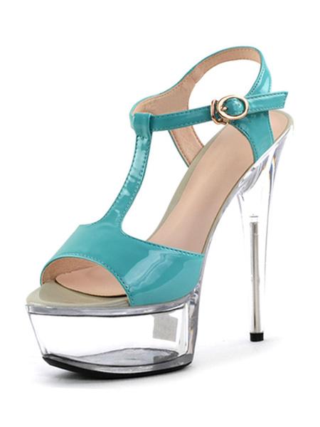 Milanoo Sandalias sexis para mujer, albaricoque, punta abierta, cuero de PU, tipo T, detalle de hebilla, sandalias de tacon alto