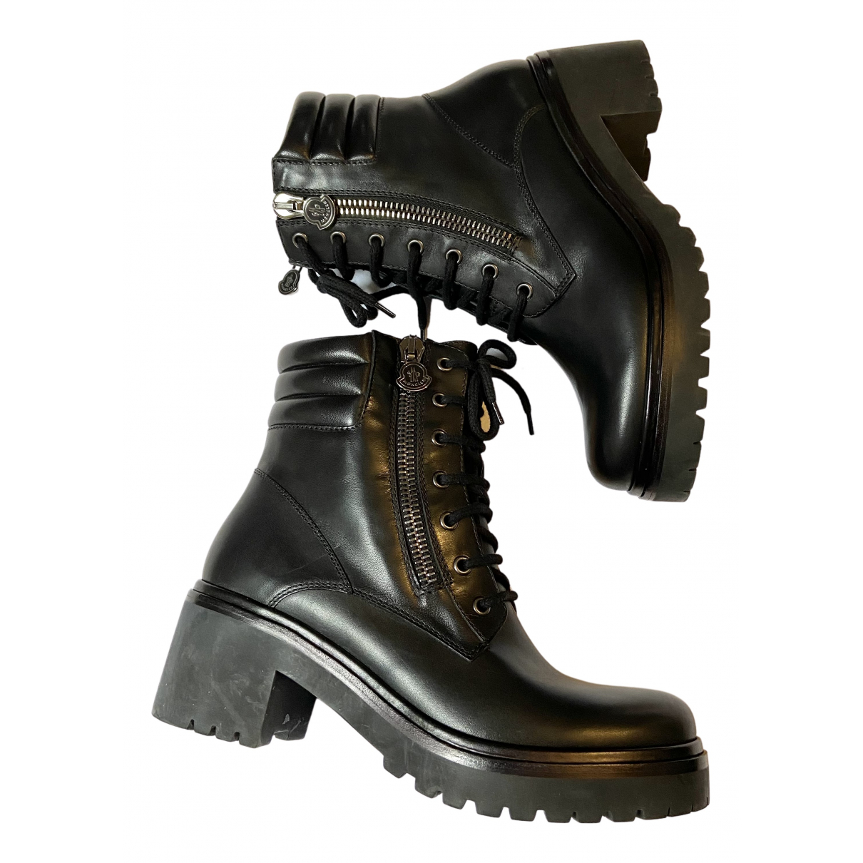 Moncler N Black Leather Boots for Women 39 EU