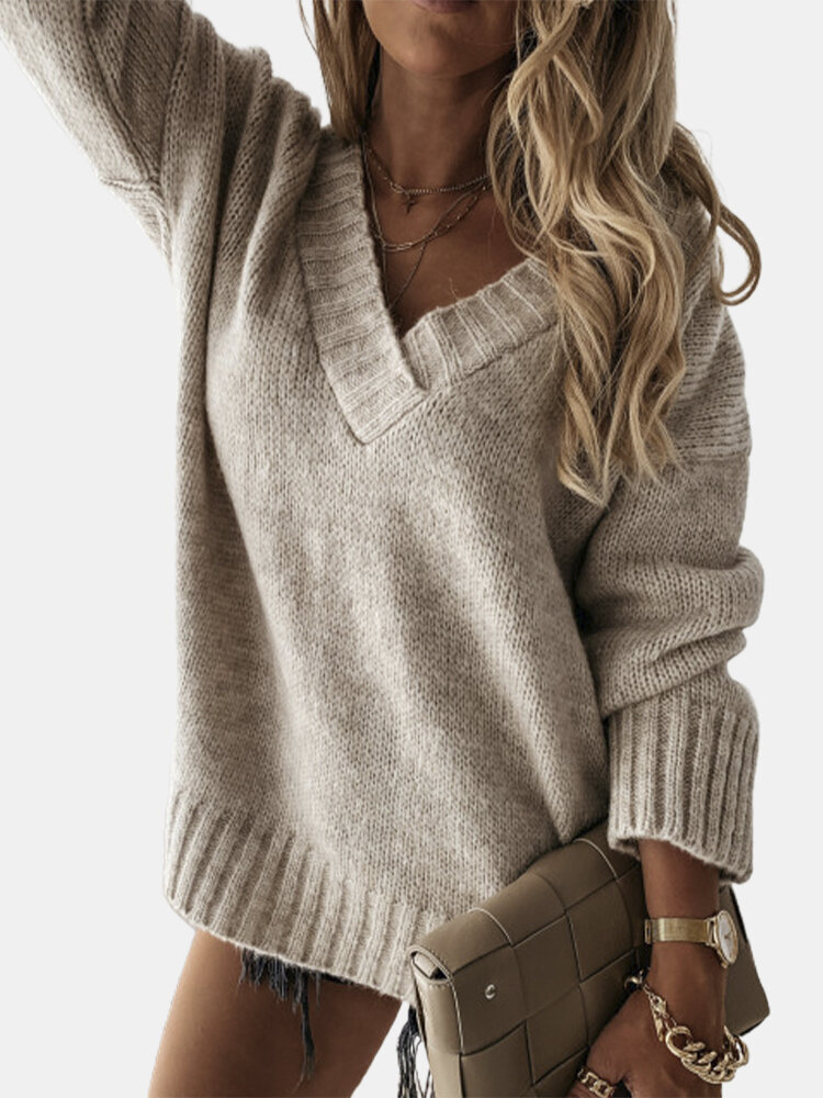 Casual V-neck Long Sleeve Knitted Plus Size Sweater Fow Women