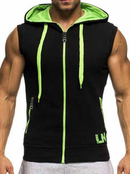 Milanoo Black Sleeveless Hoodie 2020 Drawstring Zipper Sweatshirt Color Block Hoodie For Men