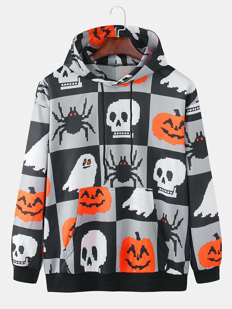 Mens Halloween Ghost Pattern Print Casual Pullover Hoodies With Kangaroo Pocket