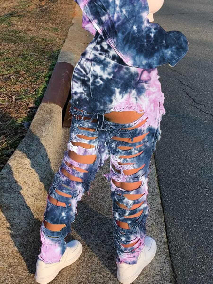 LW Lovely Street Broken Holes Tie-dye Deep Blue Jeans