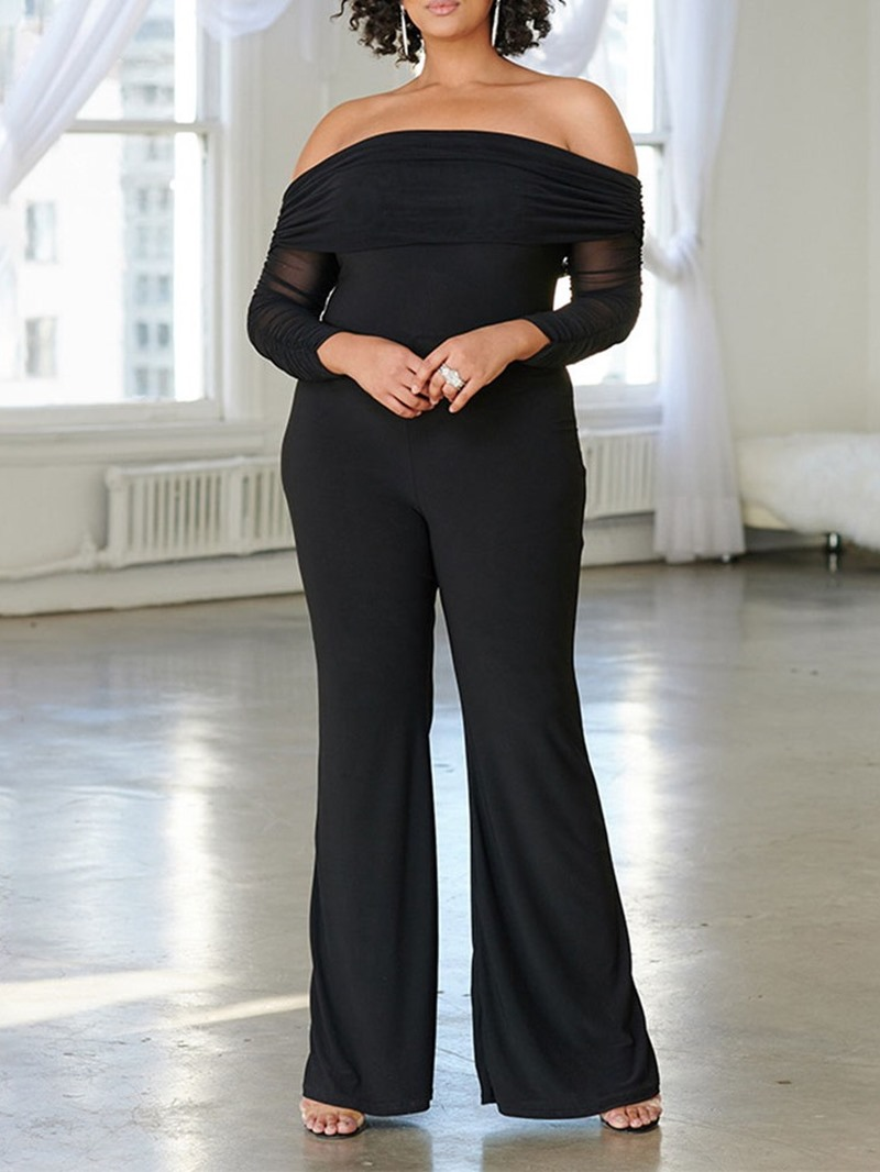 Ericdress Plain Full Length Western Bellbottoms Slim Jumpsuit