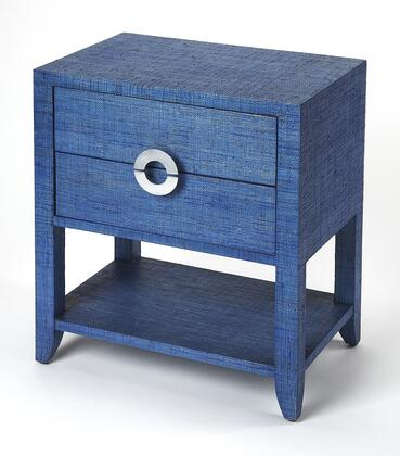 Amelle Collection 4357361 End Table with Modern Style  Rectangular Shape  Medium Density Fiberboard (MDF) and Aluminum Material in Navy Raffia