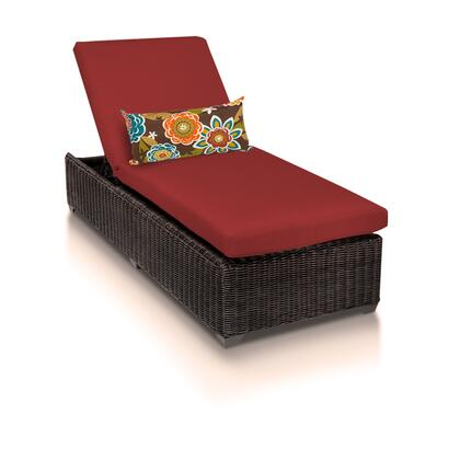 VENICE-1x-TERRACOTTA Venice Chaise Outdoor Wicker Patio Furniture with 2 Covers: Wheat and
