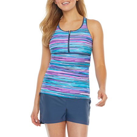 Free Country Striped Tankini Swimsuit Top, Large , Purple