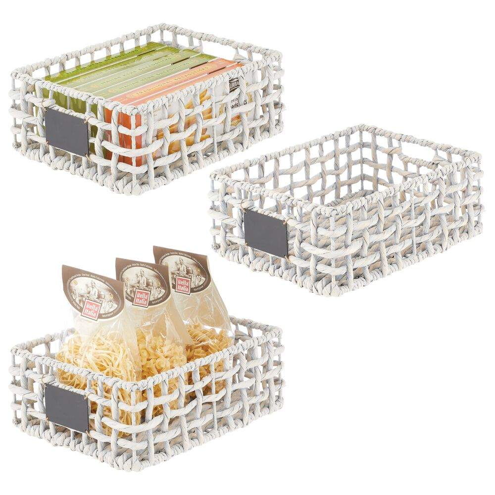Open Weave Hyacinth Storage Boxes for Kitchen Pantry - Set of in White, by mDesign