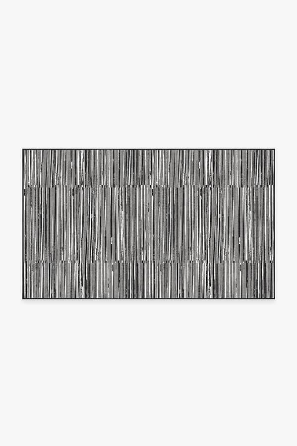 Washable Rug Cover   Caspian Stripe Black Rug   Stain-Resistant   Ruggable   3'x5'