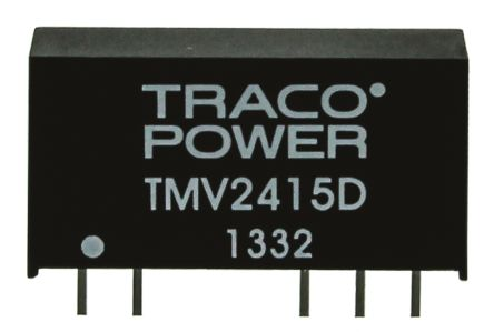 TRACOPOWER TMV 1W Isolated DC-DC Converter Through Hole, Voltage in 21.6 → 26.4 V dc, Voltage out ±15V dc