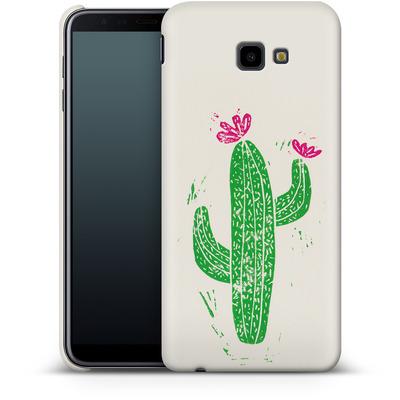 Samsung Galaxy J4 Plus Smartphone Huelle - Linocut Cacti von Bianca Green