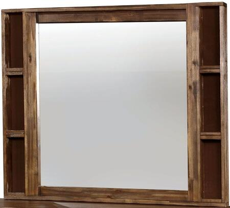 Baddock Collection CM7691M 50 x 41 Mirror with Rustic Grain Design  Solid Wood and Wood Veneers Frame Construction in Antique Oak