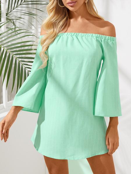 Yoins Green Sexy Off Shoulder Lace Up Stripe Pattern Mini dress