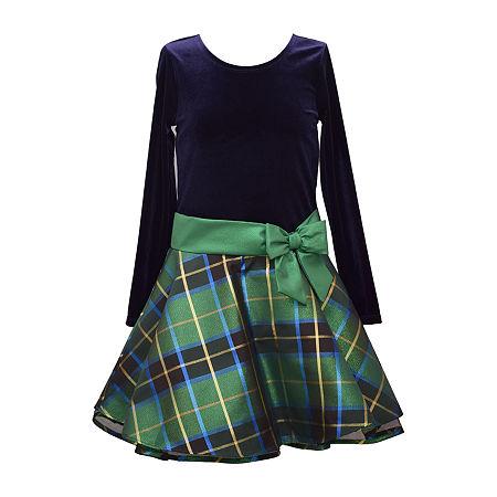 Bonnie Jean Big Girls Long Sleeve Party Dress, 10 , Blue