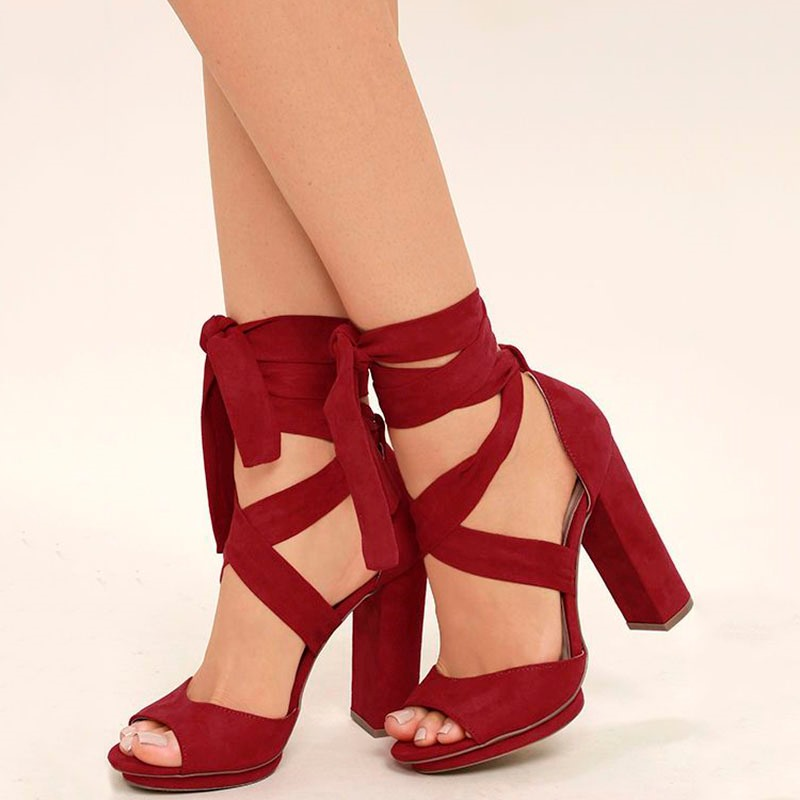 Ericdress Red Cross Strap Chunky Heel Sandals