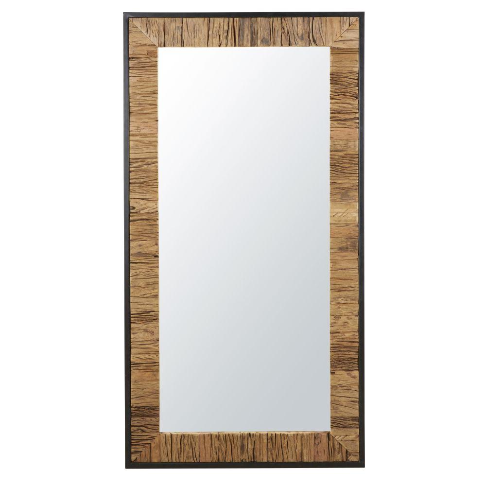 Zweifarbiger Spiegel aus Metall, schwarz 90x165