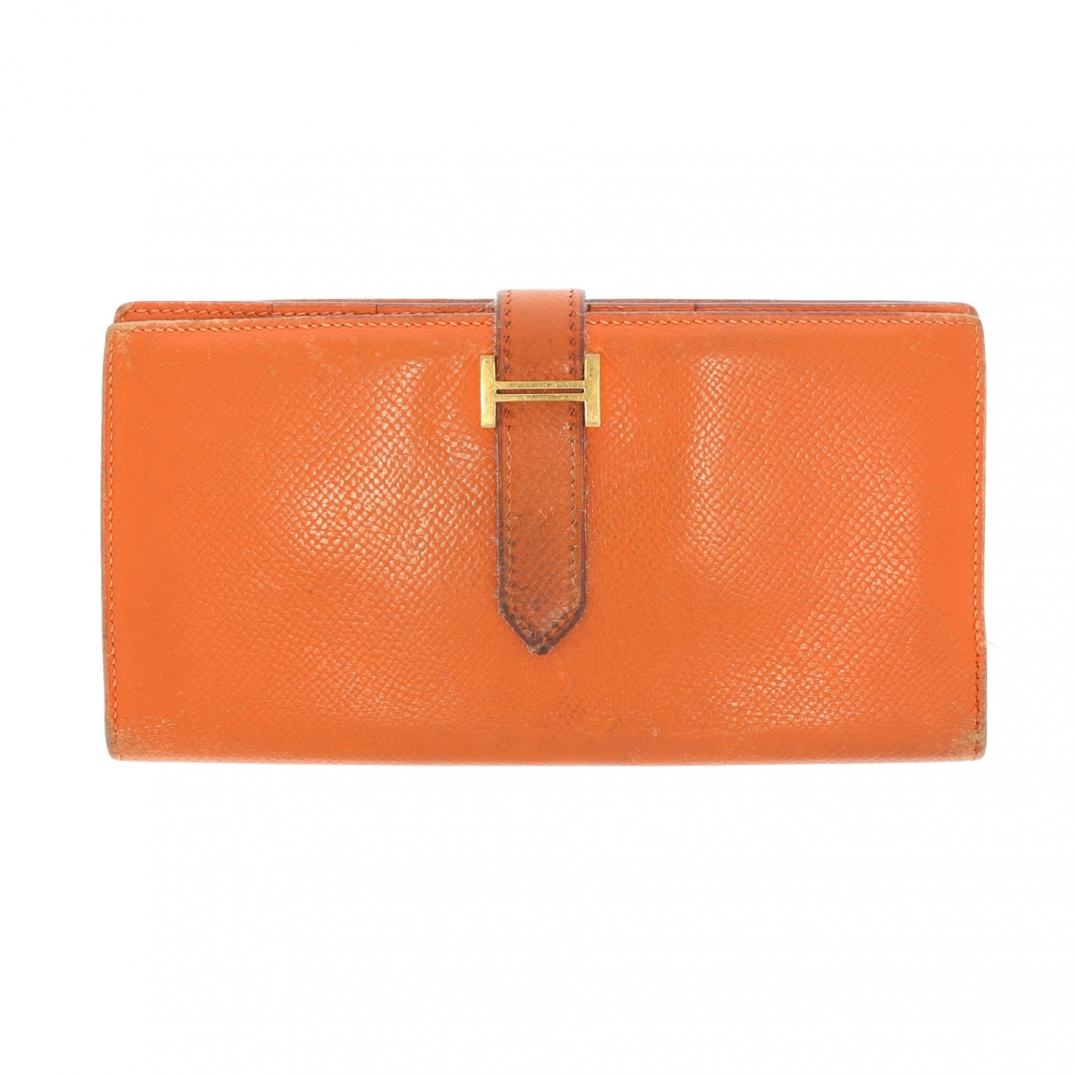Hermes Bearn Portemonnaie in  Orange Leder