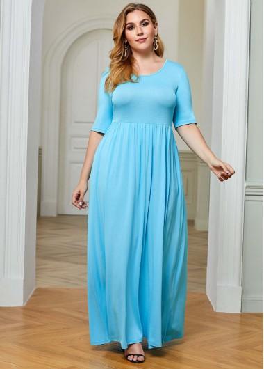 Round Neck Half Sleeve Plus Size Pocket Dress - 2XL