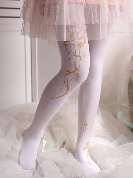 Milanoo White Lolita Pantyhose Retro Cross Hot Stamping Velvet Lolita Stocking