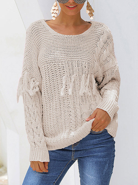 Milanoo Solid Color Round Neck Tassel Twist Sweater Solid Color Wild Thin Sweater