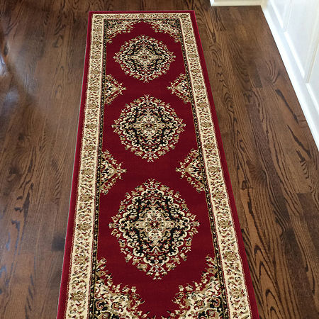 Como Medallion Traditional Oriental Area Rug, One Size , Red