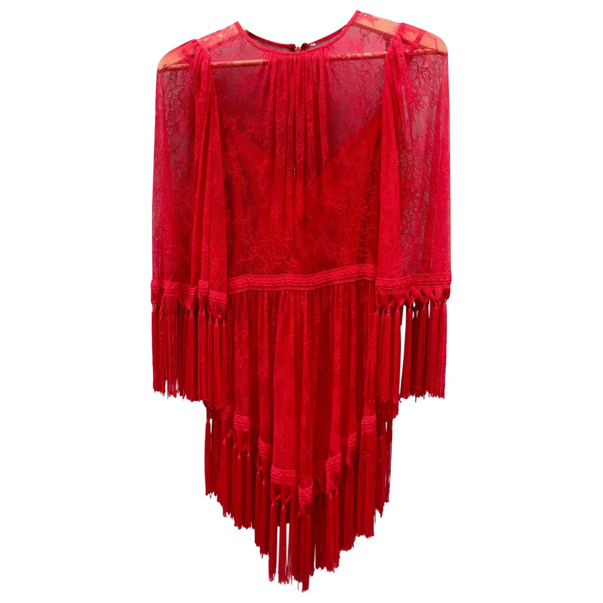 Non Signe / Unsigned \N Kleid in  Rot Spitze
