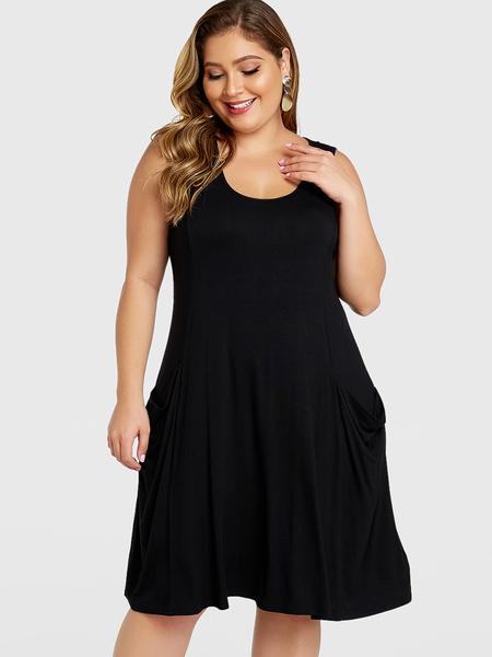YOINS Plus Size Black Pockets Design Vest Dress