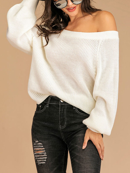 Milanoo Pullovers For Women White Off-The-Shoulder Long Sleeve Sweaters