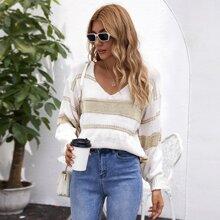 V Neck Drop Shoulder Striped Sweater